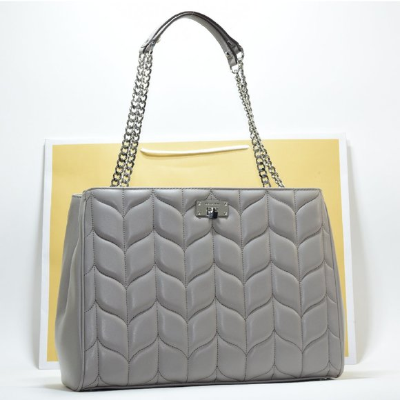 MK Peyton Large Leather Chain Tote Gray